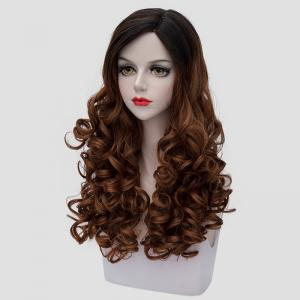 Stunning Black Ombre Brown Synthetic Vogue 60CM Long Curly Cosplay Wig For Women -