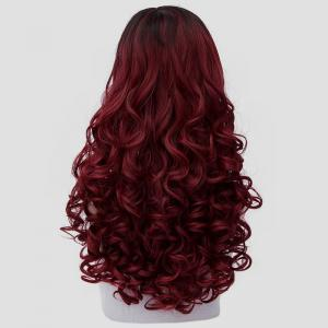 Noble Long Synthetic Fluffy Curly Fashion Black Ombre Dark Red Cosplay Wig For Women - COLORMIX