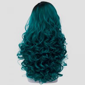 Fashion Black Turquoise Ombre Synthetic Trendy 60CM Long Fluffy Curly Cosplay Wig For Women - BLACK/GREEN