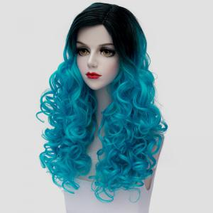 Stunning Long Synthetic Shaggy Curly Vogue Black Ombre Ice Blue Cosplay Wig For Women -