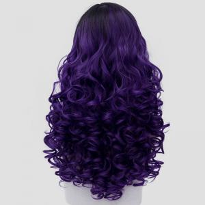 Gorgeous Black Purple Ombre Fashion Long Curly Universal Costume Play Wig For Women - BLACK/PURPLE