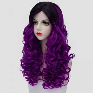Stunning Long Synthetic Vogue Black Purple Ombre Fluffy Curly Cosplay Wig For Women -