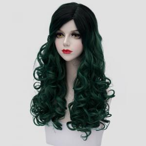 Trendy Black Ombre Blackish Green Synthetic Shaggy Curly Fashion Long Cosplay Wig For Women -