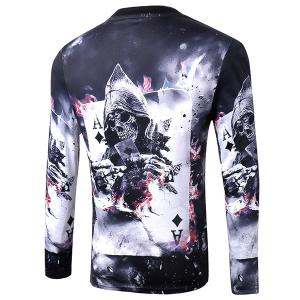 Casual Pullover Poker Skull 3D Printing Long Sleeve Sweatshirt For Men -