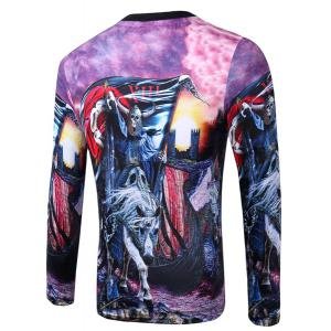 Casual Pullover Round Collar Skeleton Horse 3D Printing Long Sleeve Sweatshirt For Men -