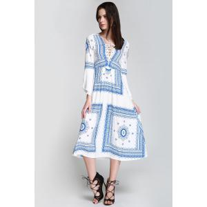 Floral Print Lace Up Bohemian Long Sleeve Dress - BLUE/WHITE S