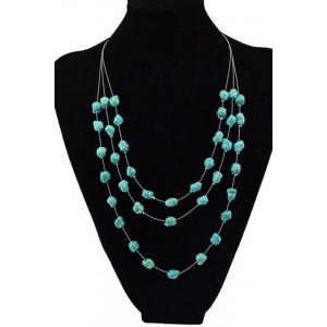 Graceful Multilayered Faux Turquoise Sweater Chain For Women - Green
