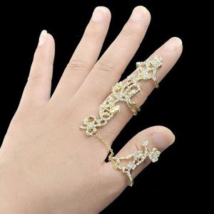 Rhinestoned Rose Shape Hollow Out Ring - GOLDEN ONE-SIZE