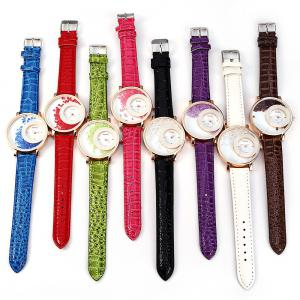 Women Rhinestone Quartz Watch Leather Band -