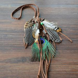Bohemian Style Woven Rope Feather Hairband For Women - ORANGE