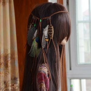 Bohemian Style Woven Rope Feather Hairband For Women -