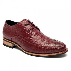Fashion Crocodile Print and Lace-Up Design Men's Formal Shoes - Wine Red - 43