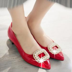Trendy Beading and Square Buckle Design Women's Flat Shoes -
