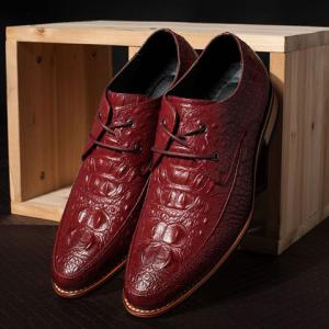 Fashion Crocodile Print and Lace-Up Design Men's Formal Shoes - WINE RED 43