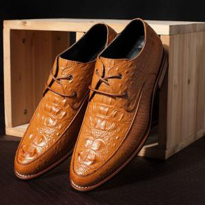 Fashion Crocodile Print and Lace-Up Design Men's Formal Shoes - BROWN 40