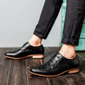 Fashion Crocodile Print and Lace-Up Design Men's Formal Shoes - BLACK 42