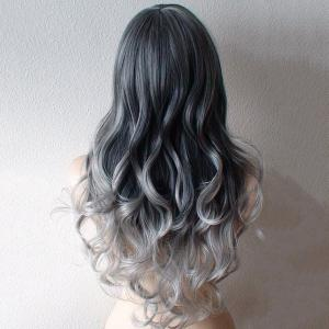 Ladylike Side Bang Heat Resistant Synthetic Capless Long Wavy Ombre Wig For Women -