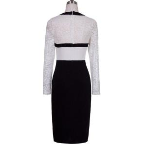 Stylish Round Neck Long Sleeve Spliced High Slit Women's Dress -