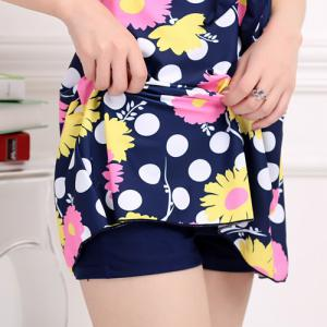 Stylish V-Neck Floral and Polka Print One-Piece Swimsuit For Women -