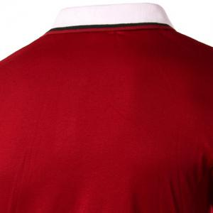 Sleeve Polo T-Shirt Slim Casual Fit Turn Down Collar Solid Color court pour les hommes - Rouge XL