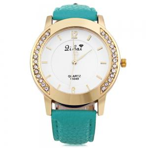 Women Quartz Watch Leather Band Rhinestone Case -