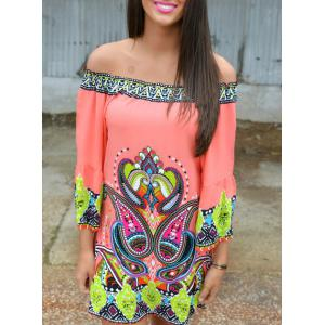 Off The Shoulder Paisley Printed Bohemian Dress
