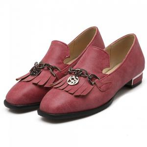 Retro Fringe and Chains Design Women's Flat Shoes -