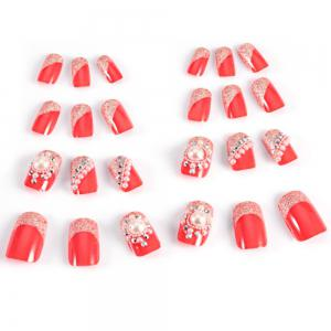 Trendy Pearl Flicker Acrylic Elegant Crystal Bride Wedding Artificial Nail - Red