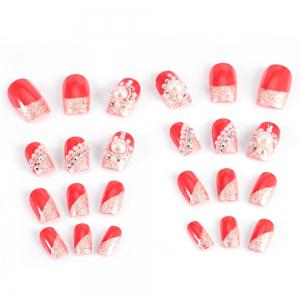 Trendy Pearl Flicker Acrylic Elegant Crystal Bride Wedding Artificial Nail -