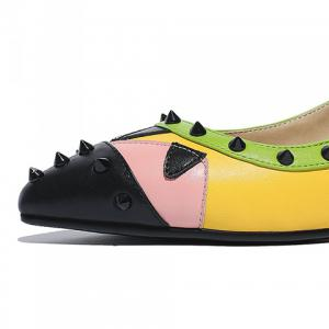 Fashionable Color Block and Rivets Design Women's Flat Shoes -