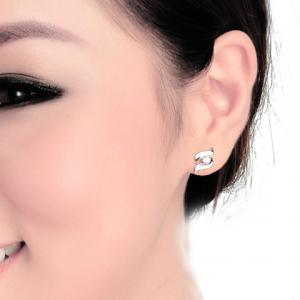 Pair of Trendy Rhinestoned Hollow Out Earrings For Women -