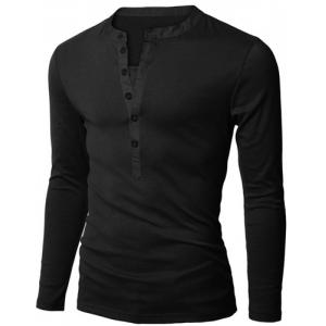 Stylish V-Neck Slimming Button Design Fabric Splicing Long Sleeve Polyester Polo Shirt For Men -