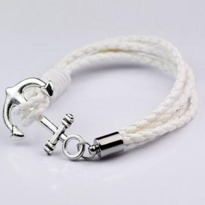 Anchor Faux Leather Layered Bracelet - White