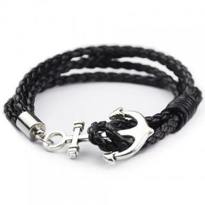 Anchor Faux Leather Layered Bracelet - Black - Xl