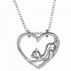 Cute Love Heart Hollow Out Kitten Pendant Necklace For Women - Silver