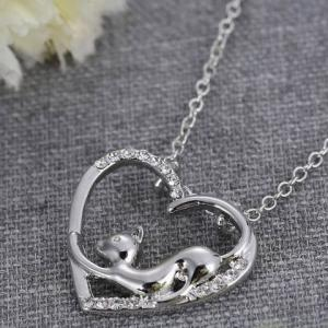 Cute Love Heart Hollow Out Kitten Pendant Necklace For Women -