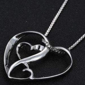 Cute Multilayered Heart Shape Hollow Pendant Necklace For Women -