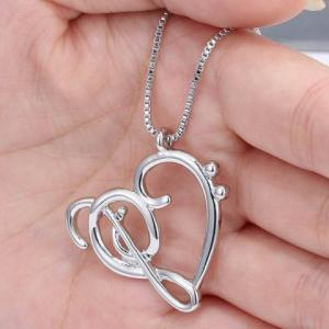 Music Note Heart Shape Hollow Out Necklace -