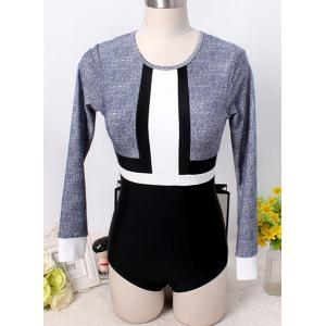 Chic Long Sleeve Color Block One-Piece Women's Swimwear -