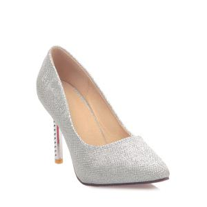 Trendy Sequined Cloth and Pointed Toe Design Women's Pumps - SILVER 39