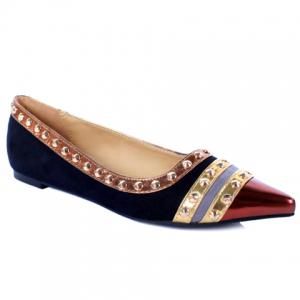 Fashion Rivets and Color Block Design Women's Flat Shoes