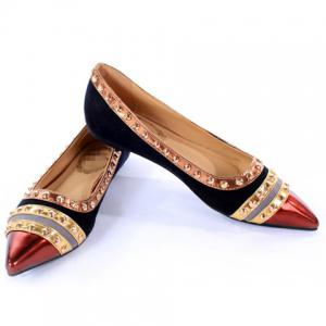 Fashion Rivets and Color Block Design Women's Flat Shoes - BLACK 39