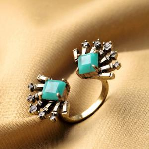 Bohemian Style Rhinestone Geometric Cuff Ring For Women - GOLDEN ONE-SIZE