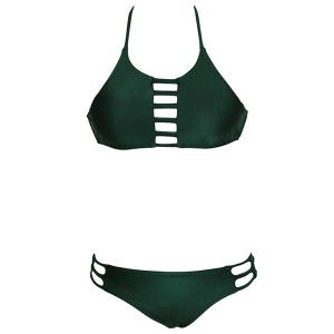Sexy Halter   Solid Color Cut Out Women's Bikini Set -