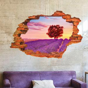Lavender Pattern Design Removable 3D Wall Sticker For Home Decor -