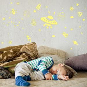 Stylish Spacecraft Pattern Design Removable DIY Wall Sticker -