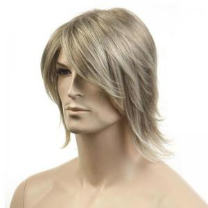 Medium Side Bang Fluffy Straight Synthetic Men's Wig -