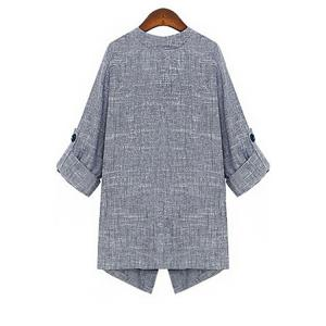 Fashion Lapel Collar 3/4 Sleeve Solid Color Open Front Women's Coat - GRAY S