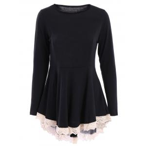 Elegant Long Sleeve Lace Hem Swallowtail Dress For Women