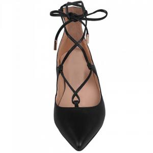 Pretty Cross-Strap and PU Leather Design Women's Flat Shoes -